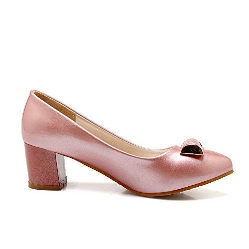 Odomolor Mujeres Sin cordones Sólido Tacón ancho De salón con Ornamento Metal Rosa