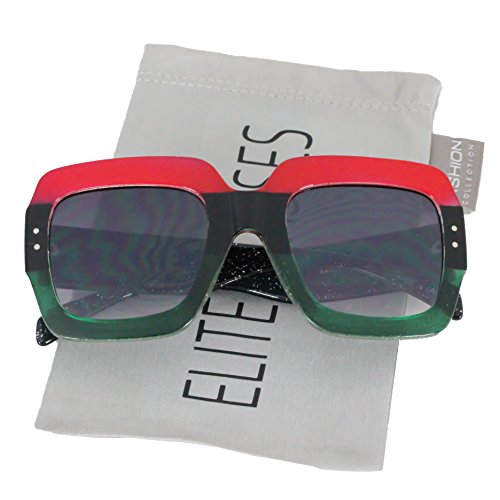 Oversized Elite Square Cute Luxury Sunglasses Gradient Lens Vintage Women Fashion Glasses (Red / Green - Black Lens) (Crystal Black Red)