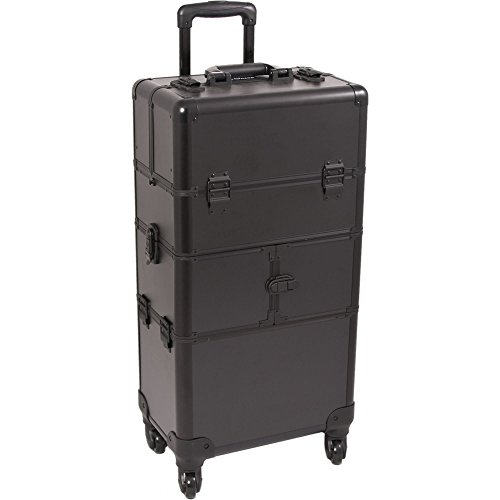 SUNRISE Makeup Case on Wheels 2 in 1 Hair Stylist I3564, 9 Trays with Brush Holder, 4 Wheel Spinner, Locking with 2 Mirrors and Shoulder Strap, Black Matte by SunRise