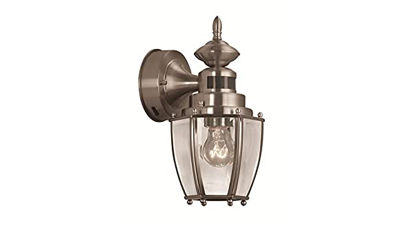 Portfolio 11.75-in H Brushed Nickel Motion Activated Outdoor Wall Light - - Amazon.com