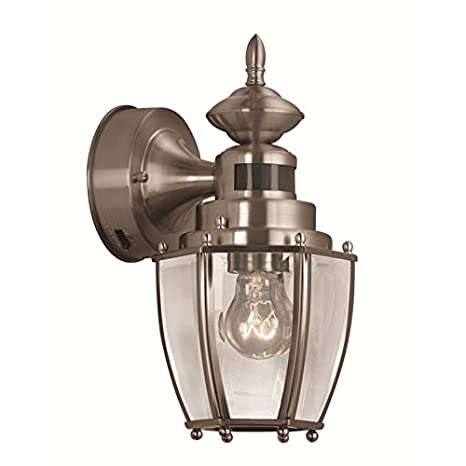 Portfolio 11.75-in H Brushed Nickel Motion Activated Outdoor Wall Light