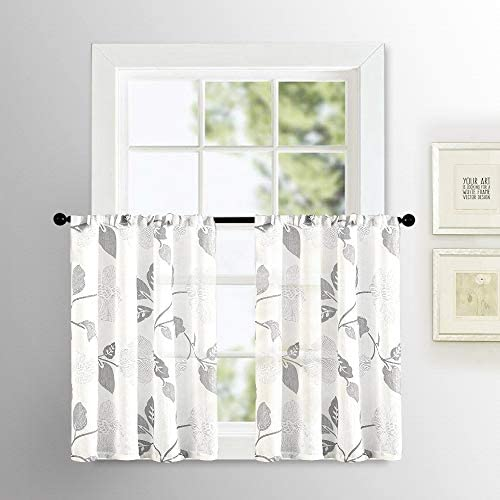MRTREES Sheer Tier Curtains Floral Printed Linen Textured Kitchen Tiers 30 inch Length Leaves Print Bathroom Small Half Window Treatment 2 Panels Rod Pocket Cafe Curtains Grey Flower Short Curtain