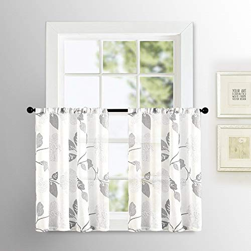(MRTREES Sheer Tier Curtains Floral Printed Linen Textured Kitchen Tiers 24 inch Length Leaves Print Bathroom Small Half Window Treatment 2 Panels Rod Pocket Cafe Curtains Grey Flower Short Curtain)