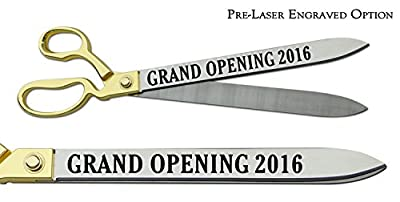 """Pre-Laser Engraved """"GRAND OPENING 2016"""" 20"""" Gold Plated Handles Ceremonial Ribbon Cutting Scissors"""