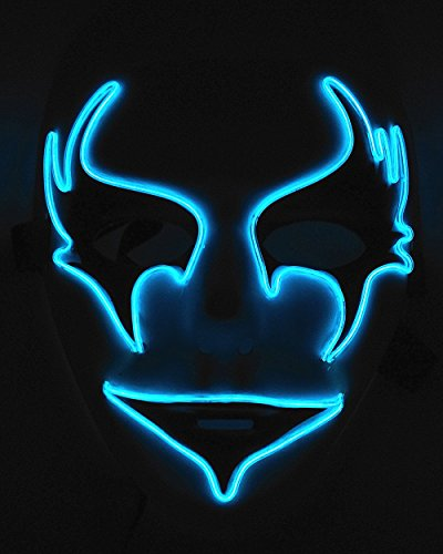 Cage-YYL Frightening Wire Halloween Cosplay LED Light up Mask for Festival Parties (Clown 1, Blue)
