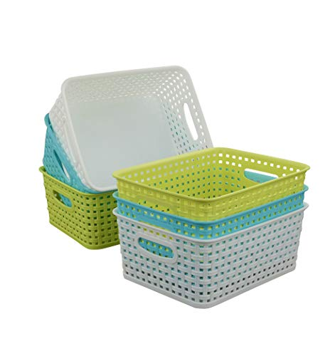 (Qsbon Plastic Storage Baskets / Bins Organizer for Bathroom, 6-Pack)