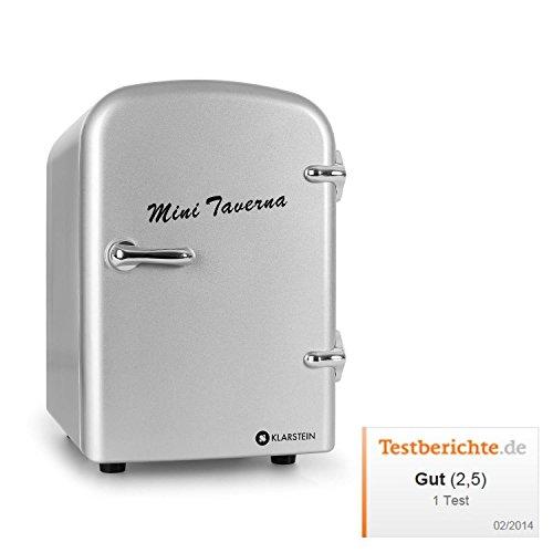 Klarstein Mini Taverna mobiler Minikühlschrank kleiner 4L Kühlschrank Kühlbox für Getränke (4 Liter, Tragegriff, Netz- oder via 12V-Betrieb, Regaleinschub) silber