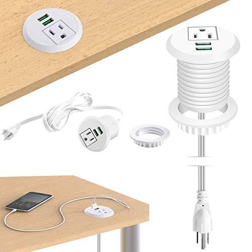 Desktop Power Grommet,Desk Grommet Outlet 2 inch Hole,Power Grommet with USB, Easy Access to 1 power Source Along with 2 USB Power Port - Access Grommets