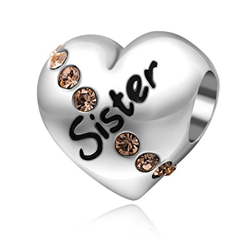 I Love You My Sister Heart Charms 925 Sterling Silver Crystal Charms fit European Bracelets
