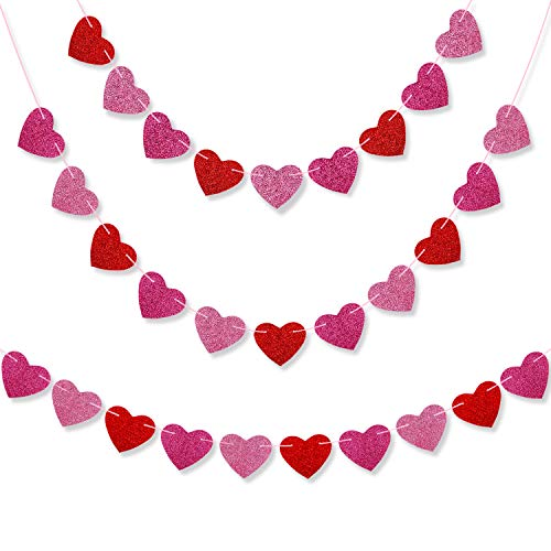 Konsait 23FT/30Heart Glitter valentine Heart Garland Banner Love Heart Bunting Decoration for Valentine's Day party, Wedding Anniversary, Engagement, Bridal Shower, Birthday Party Decor Backdrop Party
