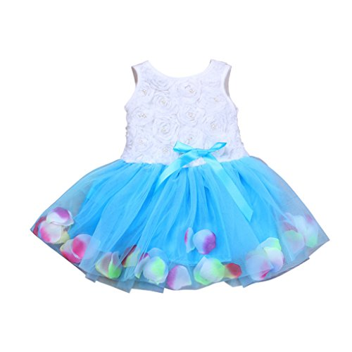[EITC Baby Girls Princess Rose Garden Flower Petal Lace Ruffled Tulle Skirts Dresses 19-24M Blue] (Mother And Infant Daughter Costumes)