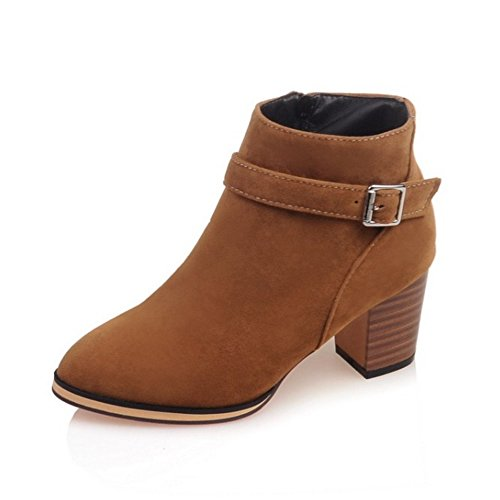 LongFengMa Women's Pointed Toe Square High Heel Suede Ankel Boots With Buckle Yellow