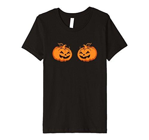 Kids Halloween Pumpkin Jack-O-Lantern Boobies Novelty PREMIUM tee 10 Black