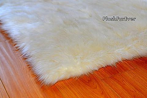 Fur Decor Faux Area Rug Sheepskin Rectangle Nursery Shaggy Flokati Accents Home Decor Plush (5' x 7' (Fox Fur Rug)