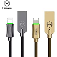 Smart LED Auto Disconnect iPhone Lightning Nylon Braided Sync Charge USB Data 4FT/1.2M Cable For iPhone 7/7 Plus, 6/6 Plus, 6s/6s Plus, 5s/5c/5, iPad Pro/Air 2, iPad mini 4/3/2, iPod MCDODO (4FT Red)