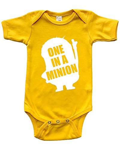 Short Sleeve Onesie w/One in A Minion, Yellow, 12-18m -