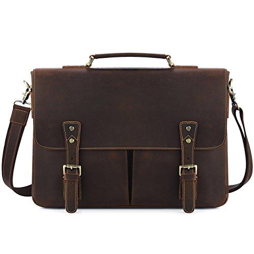 Kattee Vintage Leather Briefcase Messenger