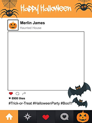 Large custom Halloween Social media photo booth frame- Sizes 36x24, 48x36; Halloween Party, Halloween Photo Props, Halloween Decor, Trick-or-treat, Halloween Frames]()