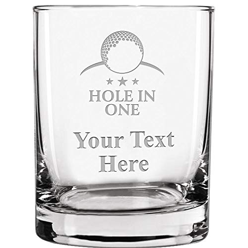Custom Engraved Double Old Fashioned Glass, 13.5 oz Personalized Hole In One Golf Whiskey Glass Gift, Your Own Text Included Prime -
