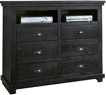Progressive Furniture P612-46 Willow Media Chest, Distressed Black