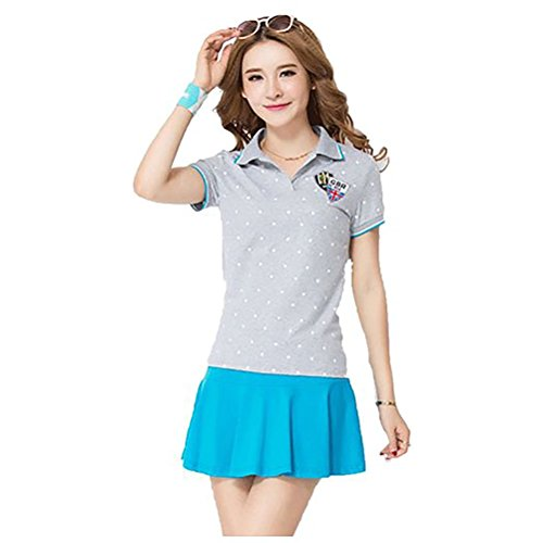 KEIMI(ケイミ) レディース ゴルフウェア 上下 セット ポロシャツ スカート カジュアル 水玉柄 可愛い スポーツウェア 全6色 (M, グレー)