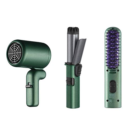 Qin Ceramic Tourmaline Hair Straightener Flat Iron and Curler + Splint + Hair Dryer Set, Portable Straight Hair Curling Stick Dual-use Without Hurting Hair Style Types