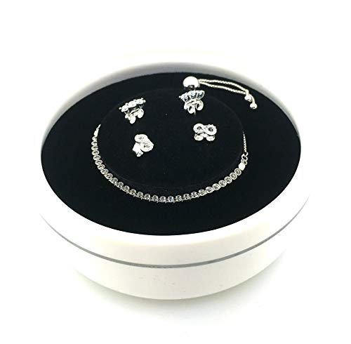 Pandora Silver Sparkling Cz Bracelet And Earrings Gift Set