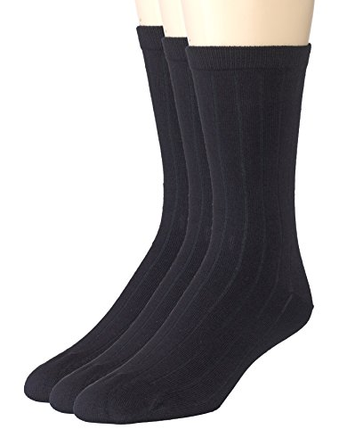 (Sportoli Boys' Super Soft Ribbed Classic Cotton Bamboo Crew Casual Uniform Dress Socks (Pack of 3) - Black (10-13))