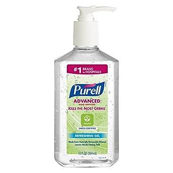 PURELL 369112CT Advanced Green Certified Instant Hand Sanitizer Gel, 12 oz Pump Bottle, Clear