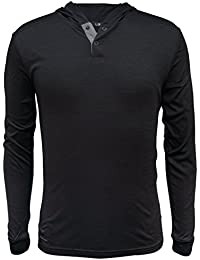 Men's Long Sleeve Hooded Henley Tee Shirt
