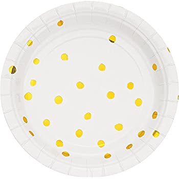 Creative Converting 329956 Touch of Color 96-Count Small/Dessert Paper Plates Touch Of Color White Gold Foil  sc 1 st  Amazon.com & Amazon.com: Gold Dessert Paper Plates 12 Pack Gold/White: Kitchen ...