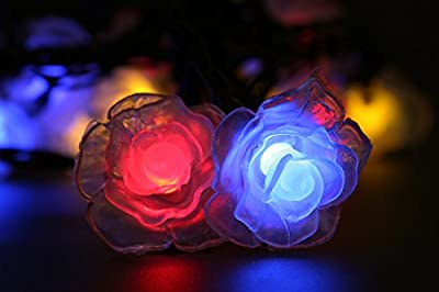 LED strip 4.8 Metres Long 20 Bright LED Colorful Rose Lights,Solar Powered Plastic Rose Fairy String Lights for Indoor Room Outdoor Garden Christmas Party Activities Decoration(Multi-color)