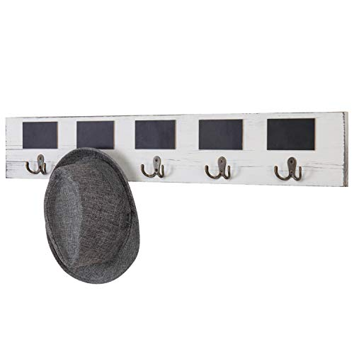 MyGift 10-Hook Vintage White Wall-Mounted Wood Coat Rack with Chalkboard Labels