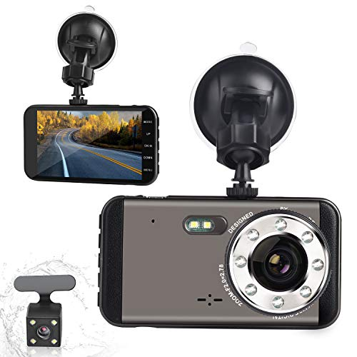 (GROTIC Dual Dash Cam HD 1080P Camera Super Night Vision 170 Degrees in The Front and 140 Degrees in The Rear, 4 inches IPS Screen Forward and Backward Twin Channel Recorder G-Sensor WDR Loop Record)