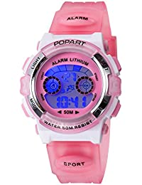 Kid Watch for Child Boy Girl LED Multi Function Sport Outdoor Digital Dress Waterproof Alarm Pink