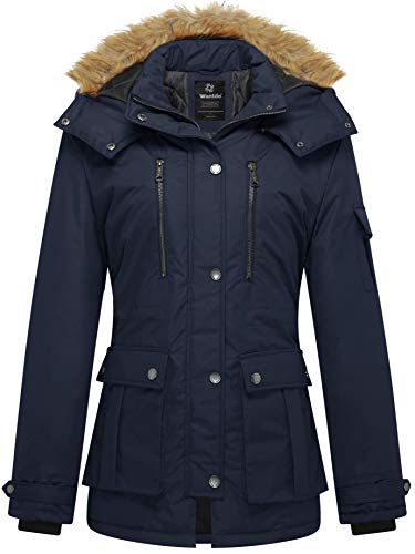 Wantdo Womens Puffer Coat with Removable Hood Navy Small