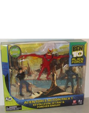 - Ben 10 Alien Force 4 Inch Exclusive Action Figure 3-Pack Action Pack 1 (Kevin Levin, Jet Ray and Forever Knight)