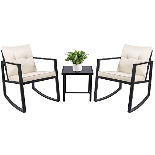 Devoko 3 Piece Rocking Bistro Set Wicker Patio Outdoor Furniture Porch Chairs Conversation Sets with Glass Coffee Table (Black) (Porch Used Furniture)