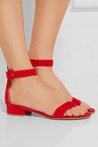 Edefs Plat Femme Bride Chaussures Rouge Ballerines Cheville qZqAOUw
