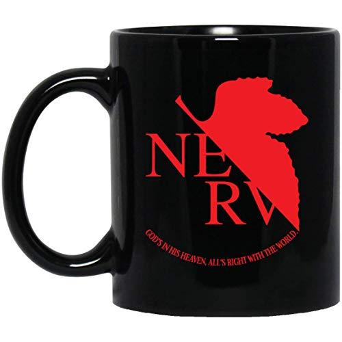 The Nerv Logo | Neon Genesis Evangelion Inspired Tea Mugs & Coffee Cups Black 11oz