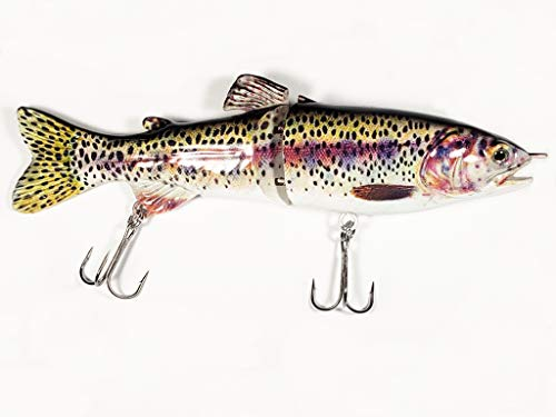"Crow Peak Fishing PB Slider 7"" Glide Bait, Jointed Swimbait Lure for Fishing Big Bass, Pike, and Musky (Rainbow Trout)"