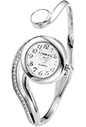 Top Plaza Fashion Women's Bangle Cuff Bracelet Analog Watch - Silver Tone
