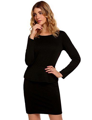 Schößchen Cocktailkleid Schwarz Kleid Business Damen Etuikleid QdCshtrx
