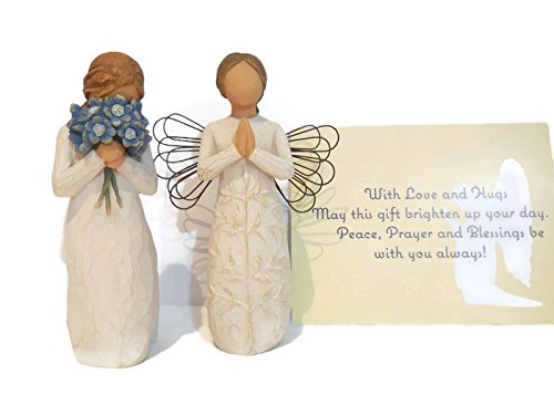 Willow Tree Forget Me Not Figurine Bundle With Willow Tree A Tree, A Prayer Angel Statue. An Ideal Sympathy-Condolence Gifts For Loss Of Mother/Father/Loved One