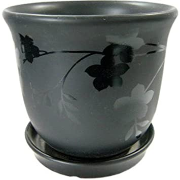 New England Pottery 6 Blk Rse Pot 100018959 Planter Stone Ceramic