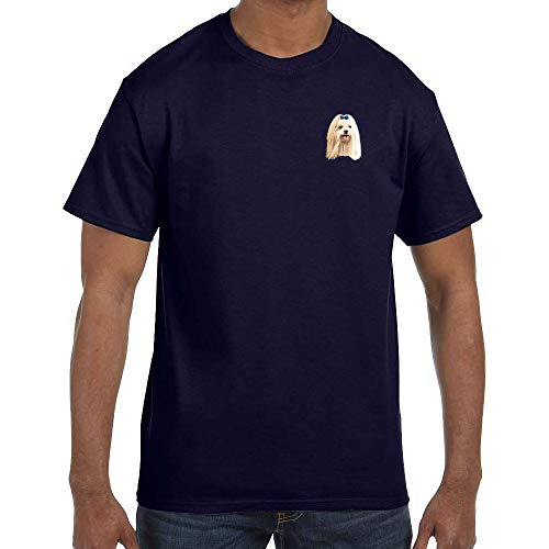 Cherrybrook Dog Breed Embroidered Mens T-Shirts - X-Large - Navy - Maltese
