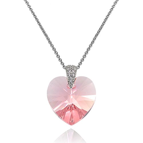 Sterling Silver Light Rose Heart Necklace Created with Swarovski - Rose Heart Light