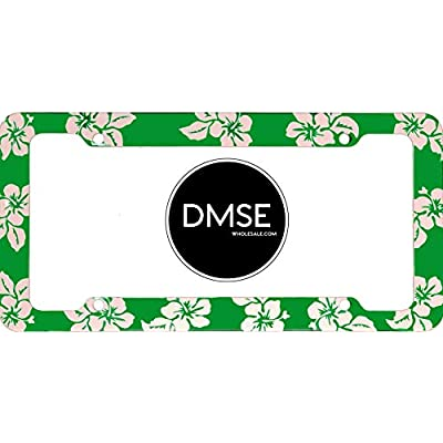 DMSE Tropical Hibiscus Flower Aloha Mahalo Hawiian Hawaii Plastic License Plate Frame Cover Holder Cool Decorative Design For Any Vehicle Car or Truck (Green): Automotive