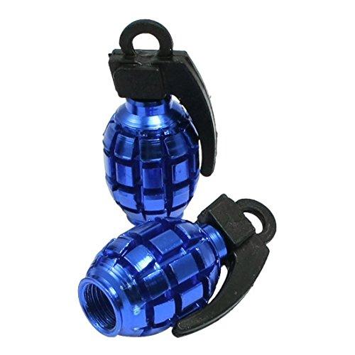 TOOGOO(R) 4 Pcs Car Alloy Grenade Shaped Tire Valve Cap Cover Blue Blue Grenade