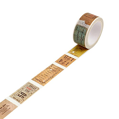 - Floralby Vintage Washi Tape Paper Masking Tape DIY Adhesive Notebook Scrapbook Sticker (Old Ticket)
